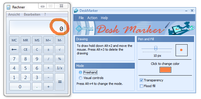 Desk Marker allows to draw on windows with different pensize and color.